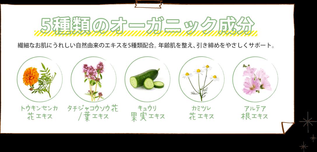 5種類のオーガニック成分